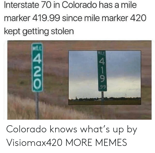 Colorado: Interstate 70 in Colorado has a mile  marker 419.99 since mile marker 420  kept getting stolen  MfLE  MILE  4  2  0  4 Colorado knows what's up by Visiomax420 MORE MEMES