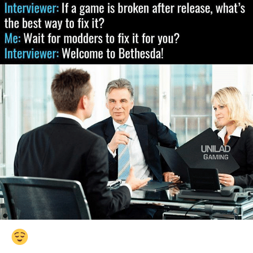 Memes, Best, and Game: Interviewer: If a game is broken after release, what's  the best way to fix it?  Me: Wait for modders to fix it for you?  Interviewer: Welcome to Bethesda!  UNILAD  GAMING 😌