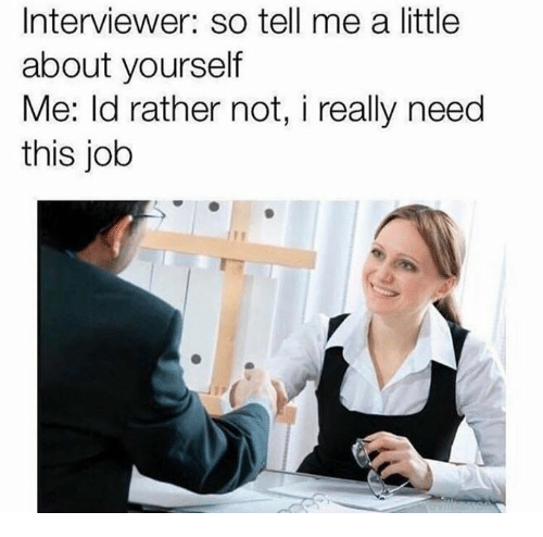 Memes, 🤖, and Job: Interviewer: so tell me a little  about yourself  Me: ld rather not, i really need  this job