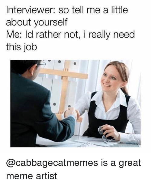Funny, Meme, and Girl Memes: Interviewer: so tell me a little  about yourself  Me: ld rather not, i really need  this job @cabbagecatmemes is a great meme artist