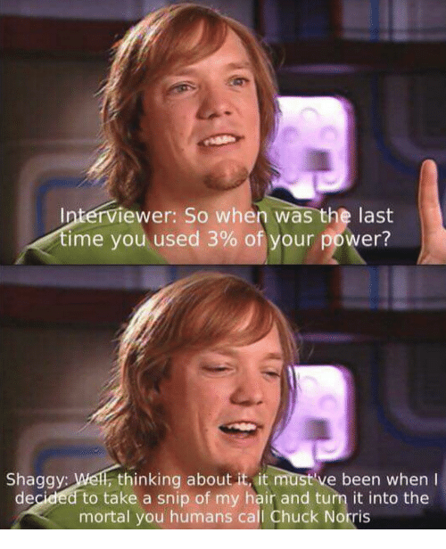 Chuck Norris: Interviewer: So when was the last  ime you used 3% of your power?  Shaggy: Wel, thinking about it, it must've been when I  decided to take a snip of my hair and turn it into the  mortal you humans call Chuck Norris