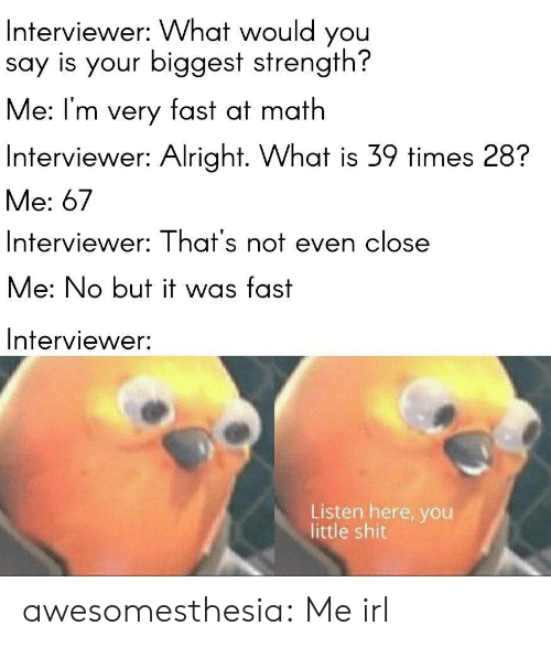 Interviewer: Interviewer: What would you  say is your biggest strength?  Me: I'm very fast at math  Interviewer: Alright. What is 39 times 28?  Me: 67  Interviewer: That's not even close  Me: No but it was fast  Interviewer:  Listen here, you  little shit awesomesthesia:  Me irl