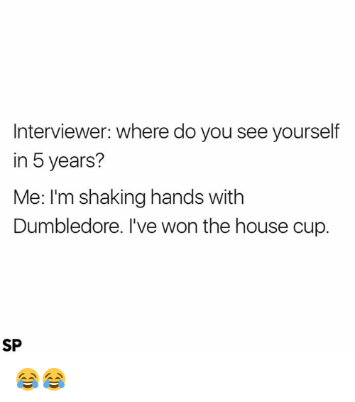 Dumbledore, House, and You: Interviewer: where do you see yourself  in 5 years?  Me: I'm shaking hands with  Dumbledore. I've won the house cup.  SP 😂😂