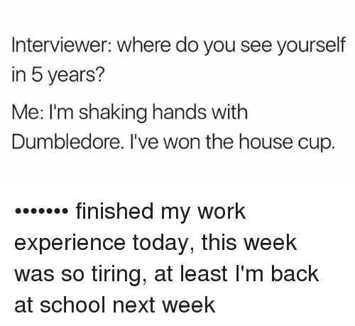Dumbledore, Memes, and School: Interviewer: where do you see yourself  in 5 years?  Me: I'm shaking hands with  Dumbledore. I've won the house cup. ••••••• finished my work experience today, this week was so tiring, at least I'm back at school next week