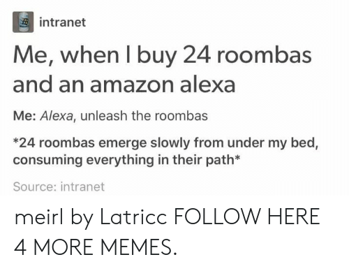 roombas: intranet  Me, when I buy 24 roombas  and an amazon alexa  Me: Alexa, unleash the roombas  *24 roombas emerge slowly from under my bed,  consuming everything in their path*  Source: intranet meirl by Latricc FOLLOW HERE 4 MORE MEMES.