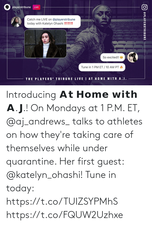 Guest: Introducing 𝗔𝘁 𝗛𝗼𝗺𝗲 𝘄𝗶𝘁𝗵 𝗔.𝗝.!   On Mondays at 1 P.M. ET, @aj_andrews_ talks to athletes on how they're taking care of themselves while under quarantine.   Her first guest: @katelyn_ohashi!   Tune in today: https://t.co/TUIZSYPMhS https://t.co/FQUW2Uzhxe