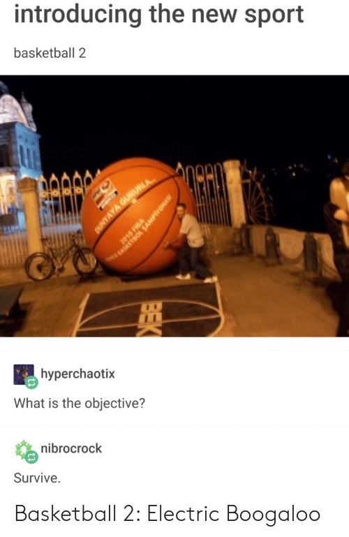 electric boogaloo: introducing the new sport  basketball 2  hyperchaotix  What is the objective?  nibrocrock  Survive Basketball 2: Electric Boogaloo
