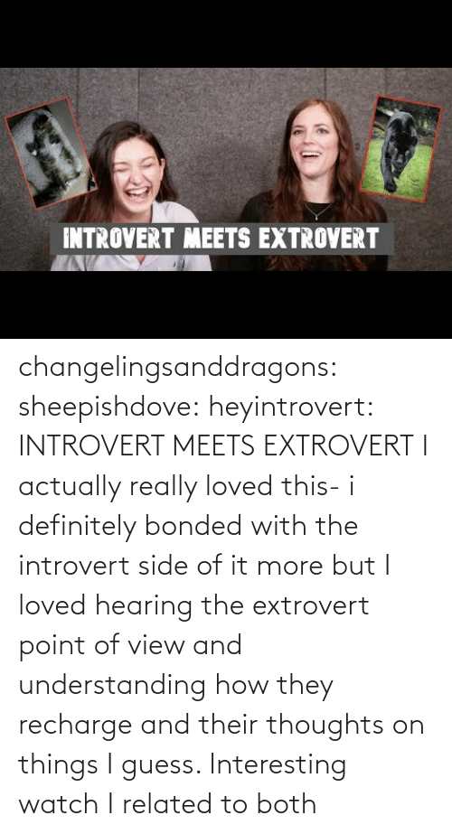 hearing: INTROVERT MEETS EXTROVERT changelingsanddragons: sheepishdove:  heyintrovert: INTROVERT MEETS EXTROVERT I actually really loved this- i definitely bonded with the introvert side of it more but I loved hearing the extrovert point of view and understanding how they recharge and their thoughts on things I guess. Interesting watch    I related to both