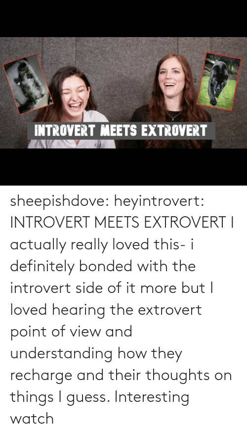 hearing: INTROVERT MEETS EXTROVERT sheepishdove: heyintrovert: INTROVERT MEETS EXTROVERT I actually really loved this- i definitely bonded with the introvert side of it more but I loved hearing the extrovert point of view and understanding how they recharge and their thoughts on things I guess. Interesting watch