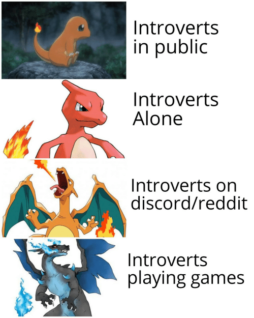 discord: Introverts  in public  Introverts  Alone  Introverts on  discord/reddit  Introverts  playing games