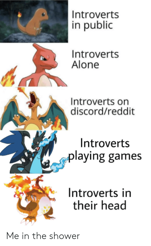 discord: Introverts  in public  Introverts  Alone  Introverts on  discord/reddit  Introverts  playing games  Introverts in  their head Me in the shower