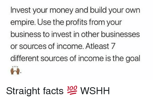 build your own: Invest your money and build your own  empire. Use the profits from your  business to invest in other businesses  or sources of income. Atleast 7  different sources of income is the goal  蚤읖 Straight facts 💯 WSHH