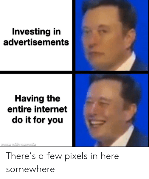 investing: Investing in  advertisements  Having the  entire internet  do it for you  made with mematic There's a few pixels in here somewhere