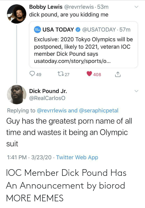 Member: IOC Member Dick Pound Has An Announcement by biorod MORE MEMES