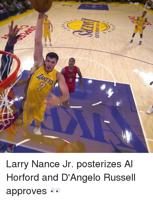Larry Nance Jr., Sports, and d'Angelo Russell: IOSAMGELES Larry Nance Jr. posterizes Al Horford and D'Angelo Russell approves 👀