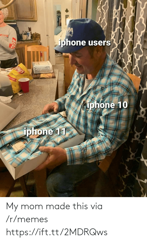 Iphone, Lay's, and Memes: iphone users  BEAST  Lay's  Classic  LY SIZE  iphone 10  iphone 11  BEA My mom made this via /r/memes https://ift.tt/2MDRQws