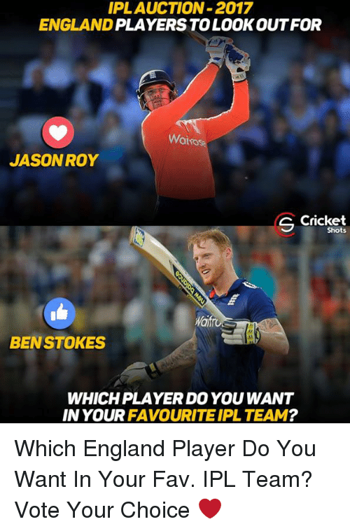 England, Memes, and Cricket: IPLAUCTION-2017  ENGLAND  PLAYERS TO LOOK OUT FOR  Wairos  JASON ROY  C Cricket  Shots  BEN STOKES  WHICH PLAYER DO YOU WANT  IN YOUR  FAVOURITE IPL TEAM Which England Player Do You Want In Your Fav. IPL Team? Vote Your Choice ❤