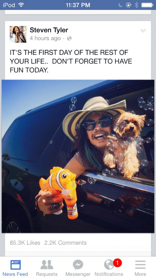 Steven Tyler: iPod ?  11:37 PM  Steven Tyler  4 hours ago · O  IT'S THE FIRST DAY OF THE REST OF  YOUR LIFE.. DON'T FORGET TO HAVE  FUN TODAY.  BLE  TOON  85.3K Likes 2.2K Comments  News Feed  More  Requests  Messenger Notifications