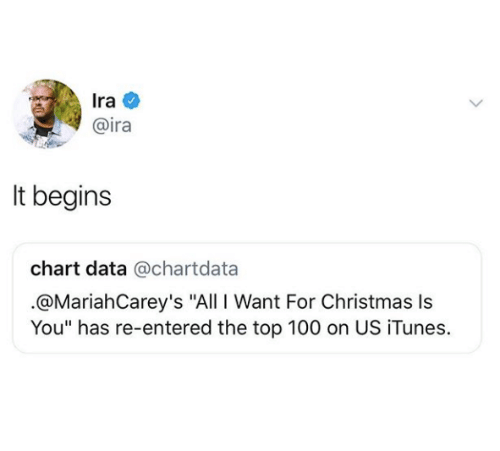 """it begins: Ira  @ira  It begins  chart data @chartdata  .@MariahCarey's """"All I Want For Christmas Is  You"""" has re-entered the top 100 on US iTunes."""