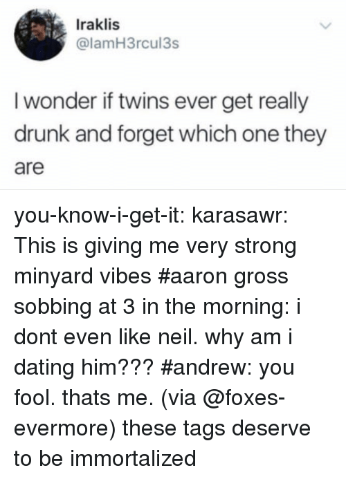 foxes: Iraklis  @lamH3rcul3s  I wonder if twins ever get really  drunk and forget which one they  are you-know-i-get-it: karasawr: This is giving me very strong minyard vibes   #aaron gross sobbing at 3 in the morning: i dont even like neil. why am i dating him???#andrew: you fool. thats me.(via @foxes-evermore) these tags deserve to be immortalized