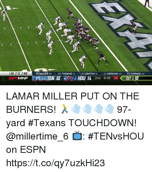 Burners: IRB, 2 TE, 2 WR  26 MILLER RB  83 THOMAS TE  84 GRIFFIN TE  10 HOPKINS WR  87 THOMAS WR  MNF T 15-5 IEN 10-3 HOU 14 2ND 9:36 IST& 10  17-3] LAMAR MILLER PUT ON THE BURNERS! 🏃💨💨💨💨  97-yard #Texans TOUCHDOWN! @millertime_6   📺: #TENvsHOU on ESPN https://t.co/qy7uzkHi23