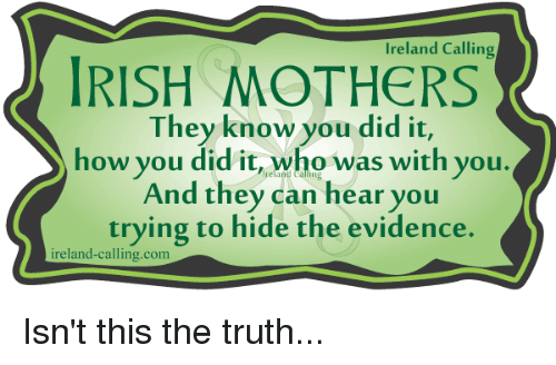 Irish, Memes, and Ireland: Ireland Calling  IRISH MOTHERS  They know you did it,  how you did it, who was with you.  And they can hear you  trying to hide the evidence.  ireland-calling com Isn't this the truth...