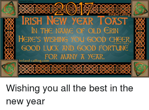 Irish, Memes, and Ireland: Ireland Calling  IRISH New yeAR IN THE NAME OF OLD ERIN  HERE'S WISHING you GOOD CHEER  GOOD LUCK AND GOOD FORTUNE  FOR MANY A YEAR.  ireland-calling com Wishing you all the best in the new year