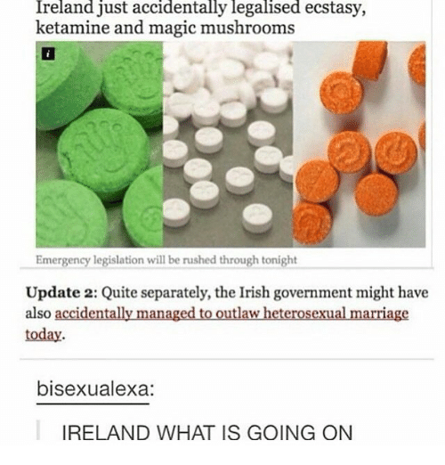 Ketamine: Ireland just accidentally legalised ecstasy,  ketamine and magic mushrooms  Emergency legislation will be rushed through tonight  Update 2: Quite separately, the Irish government might have  also accidentally managed to outlaw heterosexual marriage  today  bisexualexa:  IRELAND WHAT IS GOING ON