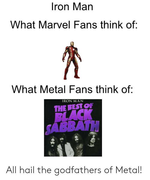 godfathers: Iron Man  What Marvel Fans think of:  What Metal Fans think of:  IRON MAN  THE BEST OF  BLACK  SABBATH All hail the godfathers of Metal!