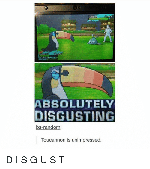 Memes, 🤖, and Random: Irubbish  ABSOLUTELY  DISGUSTING  bs-random:  Toucannon is unimpressed. D I S G U S T