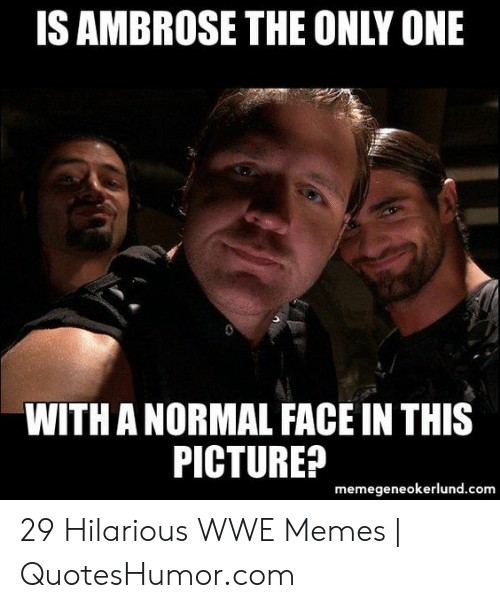 Hilarious Wwe: IS AMBROSE THE ONLY ONE  WITH A NORMAL FACE IN THIS  PICTURE?  memegeneokerlund.com 29 Hilarious WWE Memes | QuotesHumor.com