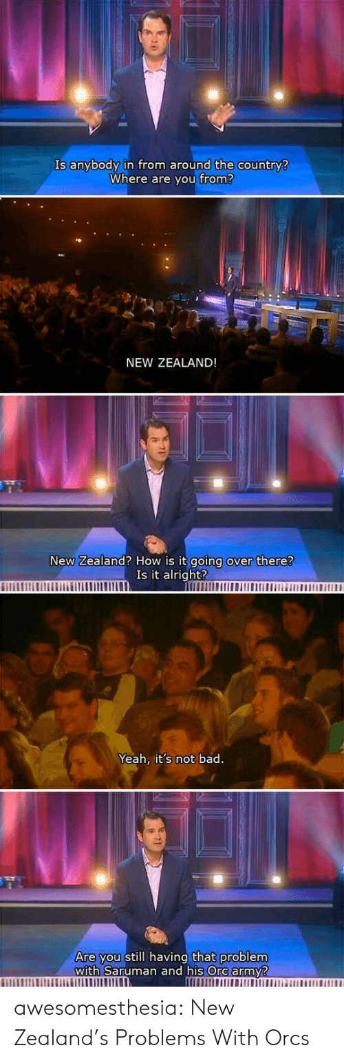 ore: Is anybody in from around the country?  Where are you from?  NEW ZEALAND!  New Zealand? How is it going over there?  Is it alright?  Yeah, it's not bad.  Are you still having that problem  with Saruman and his Ore army? awesomesthesia:  New Zealand's Problems With Orcs