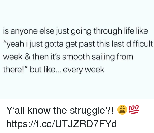 "Life, Smooth, and Struggle: is anyone else just going through life like  ""yeah i just gotta get past this last difficult  week & then it's smooth sailing from  there!"" but like... every week Y'all know the struggle?! 😩💯 https://t.co/UTJZRD7FYd"