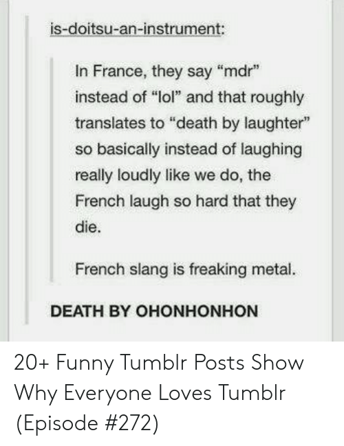 """Tumblr Posts: is-doitsu-an-instrument:  In France, they say """"mdr  instead of """"lol"""" and that roughly  translates to """"death by laughter""""  so basically instead of laughing  really loudly like we do, the  French laugh so hard that they  die.  French slang is freaking metal.  DEATH BY OHONHONHON 20+ Funny Tumblr Posts Show Why Everyone Loves Tumblr (Episode #272)"""