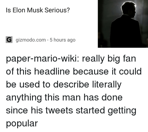 Mario Wiki: Is Elon Musk Serious?  G gizmodo.com- 5 hours ago paper-mario-wiki:  really big fan of this headline because it could be used to describe literally anything this man has done since his tweets started getting popular