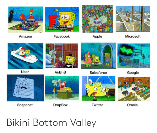 Dropbox: is for triends  who do stuff together  Amazorn  Facebook  Apple  Microsoft  Uber  AirBnB  Salesforce  Google  Snapchat  DropBox  Twitter  Oracle Bikini Bottom Valley