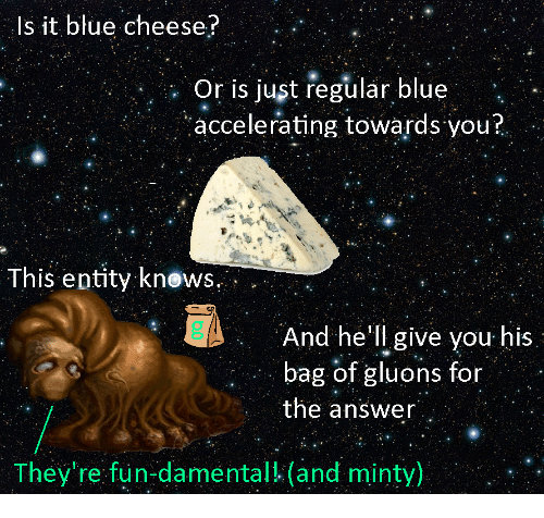 blue cheese: Is it blue cheese?  : Or is just regular blue  accelerating towards you?  This entity knows.  And he'll give you his  bag of gluons for  the answer  They're fun-damental! (and minty)