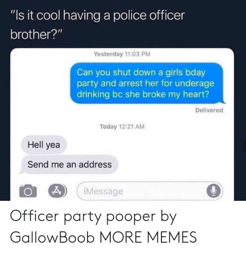 """bday: """"Is it cool having a police officer  brother?'""""  Yesterday 11:03 PM  Can you shut down a girls bday  party and arrest her for underage  drinking bc she broke my heart?  Delivered  Today 12:21 AM  Hell yea  Send me an address  Message Officer party pooper by GallowBoob MORE MEMES"""