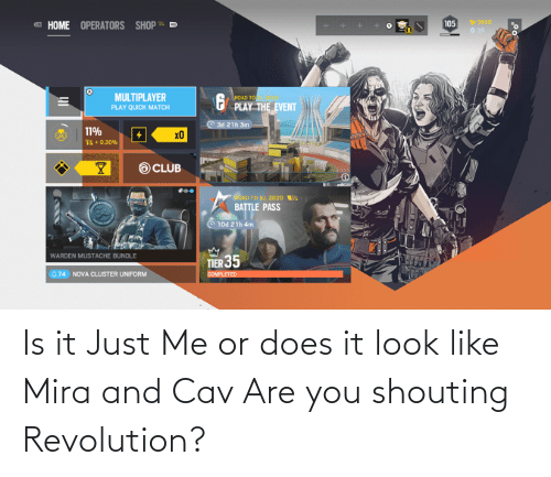 cav: Is it Just Me or does it look like Mira and Cav Are you shouting Revolution?