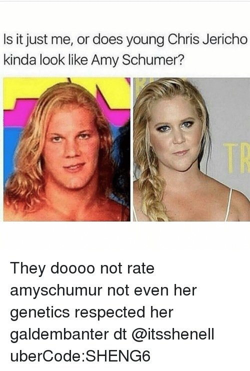 Amy Schumer, Memes, and Chris Jericho: Is it just me, or does young Chris Jericho  kinda look like Amy Schumer? They doooo not rate amyschumur not even her genetics respected her galdembanter dt @itsshenell uberCode:SHENG6