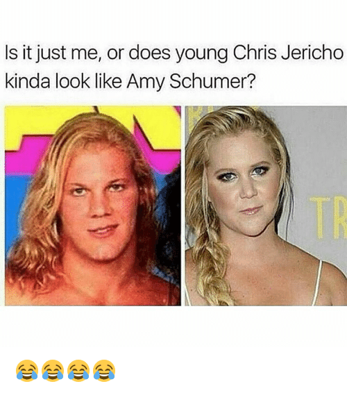 Amy Schumer, Memes, and Chris Jericho: Is it just me, or does young Chris Jericho  kinda look like Amy Schumer? 😂😂😂😂