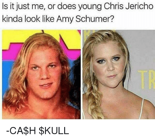 Amy Schumer, Memes, and Chris Jericho: Is it just me, or does young Chris Jericho  kinda look like Amy Schumer? -CA$H $KULL