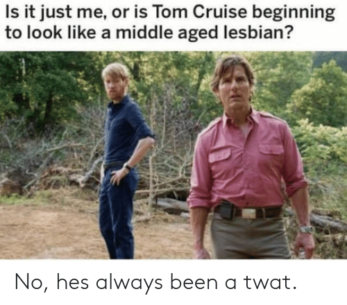 Tom Cruise: Is it just me, or is Tom Cruise beginning  to look like a middle aged lesbian? No, hes always been a twat.