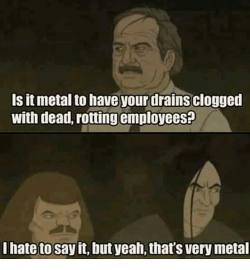 Memes, 🤖, and Metals: Is it metal to have your drainsclogged  with dead, rotting employeesp  I hate to  it, but yeah,thats very metal