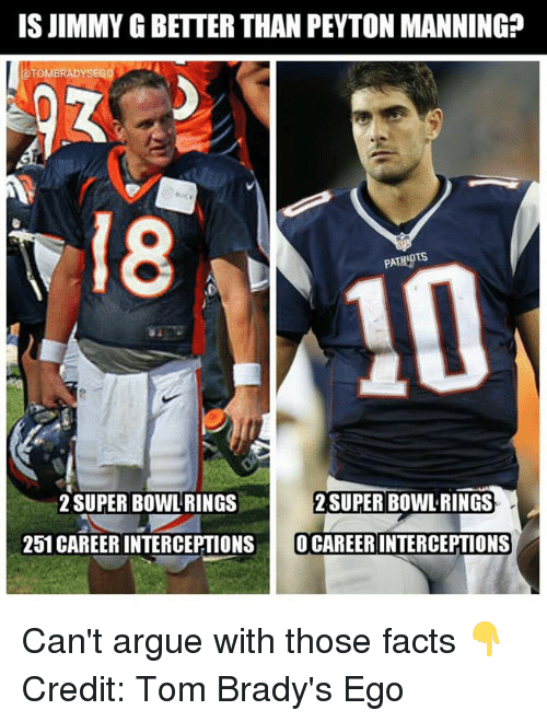 super bowl rings: IS JIMMY GBETTER THAN PEYTON MANNING?  TOMBRADYSEG  SUPER BOWL RINGS  2 SUPER BOWL RINGS  251 CAREER INTERCEPTIONS  O CAREER INTERCEPTIONS Can't argue with those facts 👇 Credit: Tom Brady's Ego