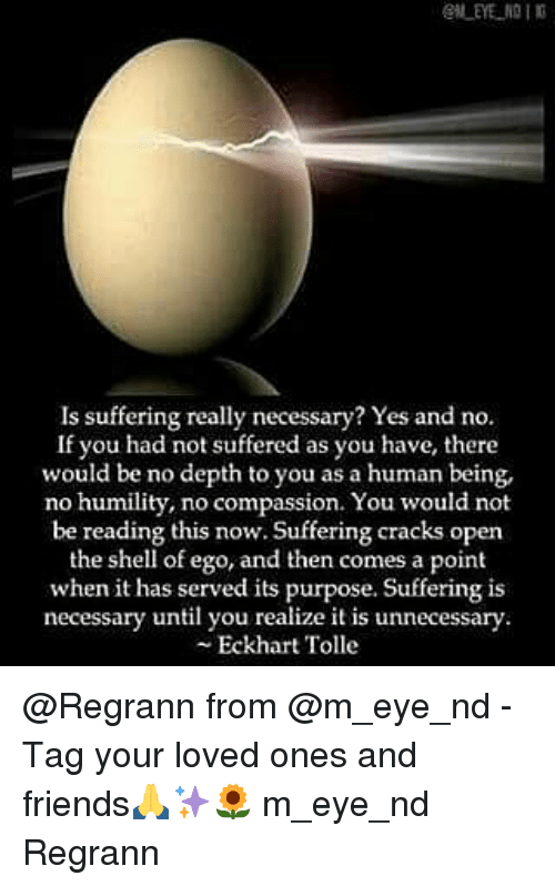 Friends, Memes, and Compassion: Is suffering really necessary? Yes and no.  If you had not suffered as you have, there  would be no depth to you as a human being,  no humility, no compassion. You would not  be reading this now. Suffering cracks open  the shell of ego, and then comes a point  when it has served its purpose. Suffering is  necessary until you realize it is unnecessary.  Eckhart Tolle @Regrann from @m_eye_nd - Tag your loved ones and friends🙏✨🌻 m_eye_nd Regrann