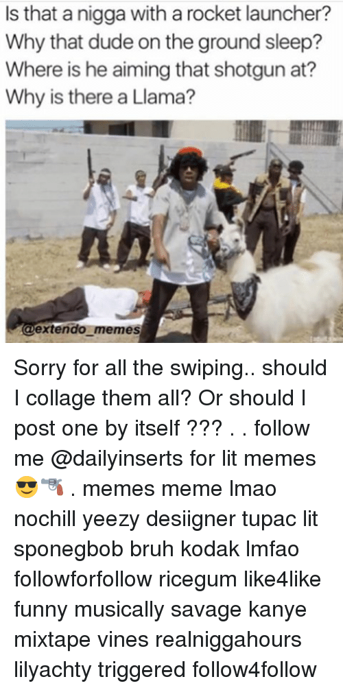 Bruh, Dude, and Funny: Is that a nigga with a rocket launcher?  Why that dude on the ground sleep?  Where is he aiming that shotgun at?  Why is there a Llama?  extendo memes Sorry for all the swiping.. should I collage them all? Or should I post one by itself ??? . . follow me @dailyinserts for lit memes 😎🔫 . memes meme lmao nochill yeezy desiigner tupac lit sponegbob bruh kodak lmfao followforfollow ricegum like4like funny musically savage kanye mixtape vines realniggahours lilyachty triggered follow4follow