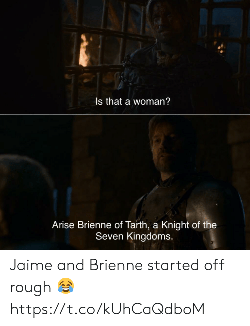jaime: Is that a woman?  Arise Brienne of Tarth, a Knight of the  Seven Kingdoms. Jaime and Brienne started off rough 😂 https://t.co/kUhCaQdboM