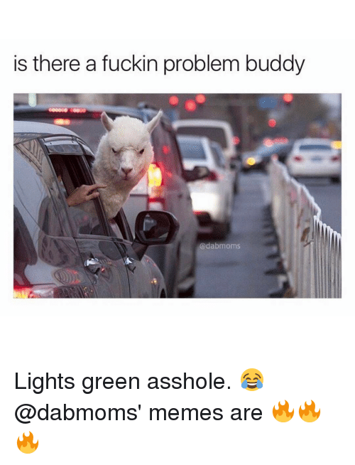 Asshols: is there a fuckin problem buddy  adabmoms Lights green asshole. 😂 @dabmoms' memes are 🔥🔥🔥