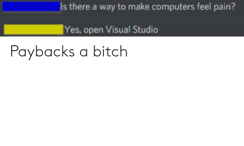 payback: Is there a way to make computers feel pain?  Yes, open Visual Studio Paybacks a bitch